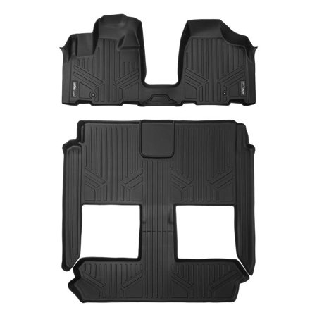 Maxliner 2008-2019 Dodge Grand Caravan 2008-2016 Chrysler Town & Country Only Fits Models With Bucket Seats and Stow N Go Seats Floor Mats 3 Row Set Black (Dodge Grand Caravan Back Seats Fold Down)