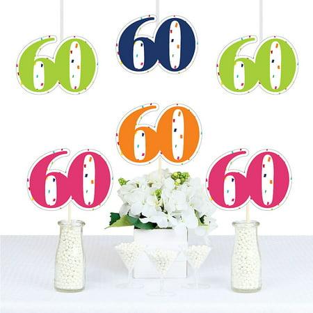 60th Birthday - Cheerful Happy Birthday - Thirty Shaped Decorations DIY Colorful Sixtieth Birthday Party Essentials - Set of 20](Dirty Thirty Birthday Decorations)