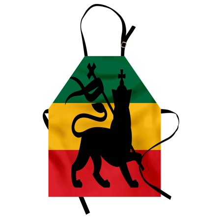 Rasta Apron Rastafarian Flag with Judah Lion Reggae Music Inspired Design Image, Unisex Kitchen Bib Apron with Adjustable Neck for Cooking Baking Gardening, Black Red Green and Yellow, by (Lions Apron Set)