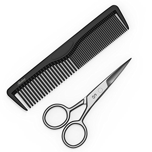 "4"" Facial Hair Trimming Scissors - Grooming Scissors & Comb for Beards, Mustaches, Eyebrows, Nose Hair, Ear Hair & Personal Care Trimming - Precision Stainless Steel By Sterling Beauty Tools."