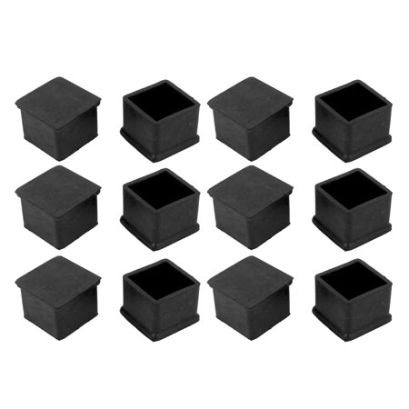 Square Shaped Furniture Table Chair Leg Foot Plastic Cover Cap 30mm x 30mm 12pcs ()