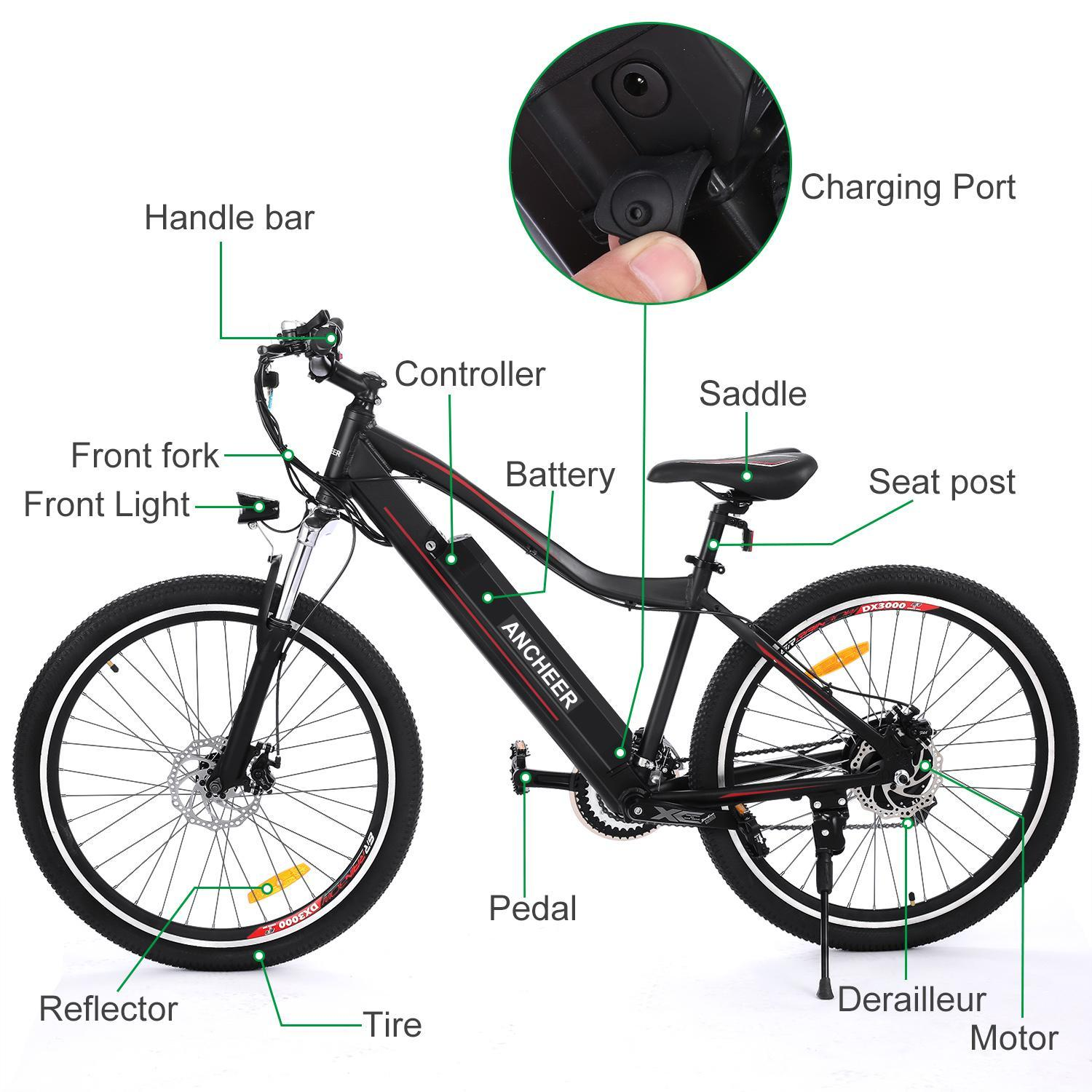 Ebike 21-Speed Electric Bike Mountain Bicycle w/Removable Lithium Battery HPPY