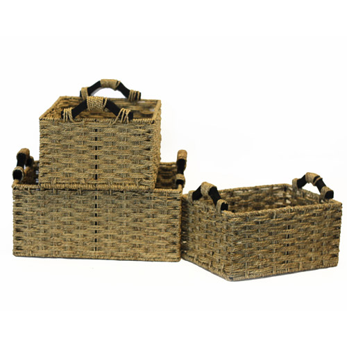 Baum Box Weave Seagrass Baskets with Wood Handles, Set of 3, Natural