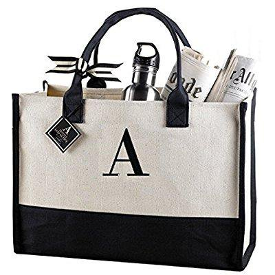 Mud Pie A-Initial Canvas Tote