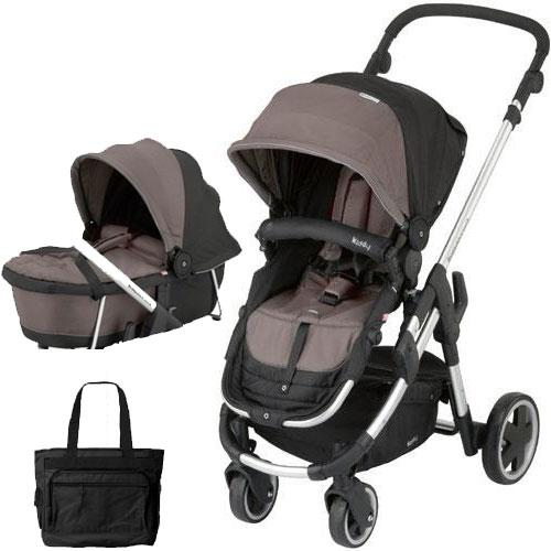 Kiddy - Click n Move 3 Stroller and Carrycot with Diaper Bag - Walnut