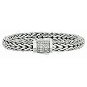"Phillip Gavriel Silver & White Sapphire Spiga Wheat Woven Bracelet - 8.25"""