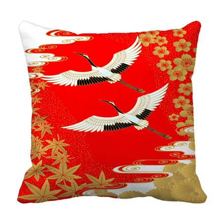 PHFZK Asian Pillow Case, Classical Japanese Style of Cranes Cherry and Maple Pillowcase Throw Pillow Cushion Cover Two Sides Size 18x18