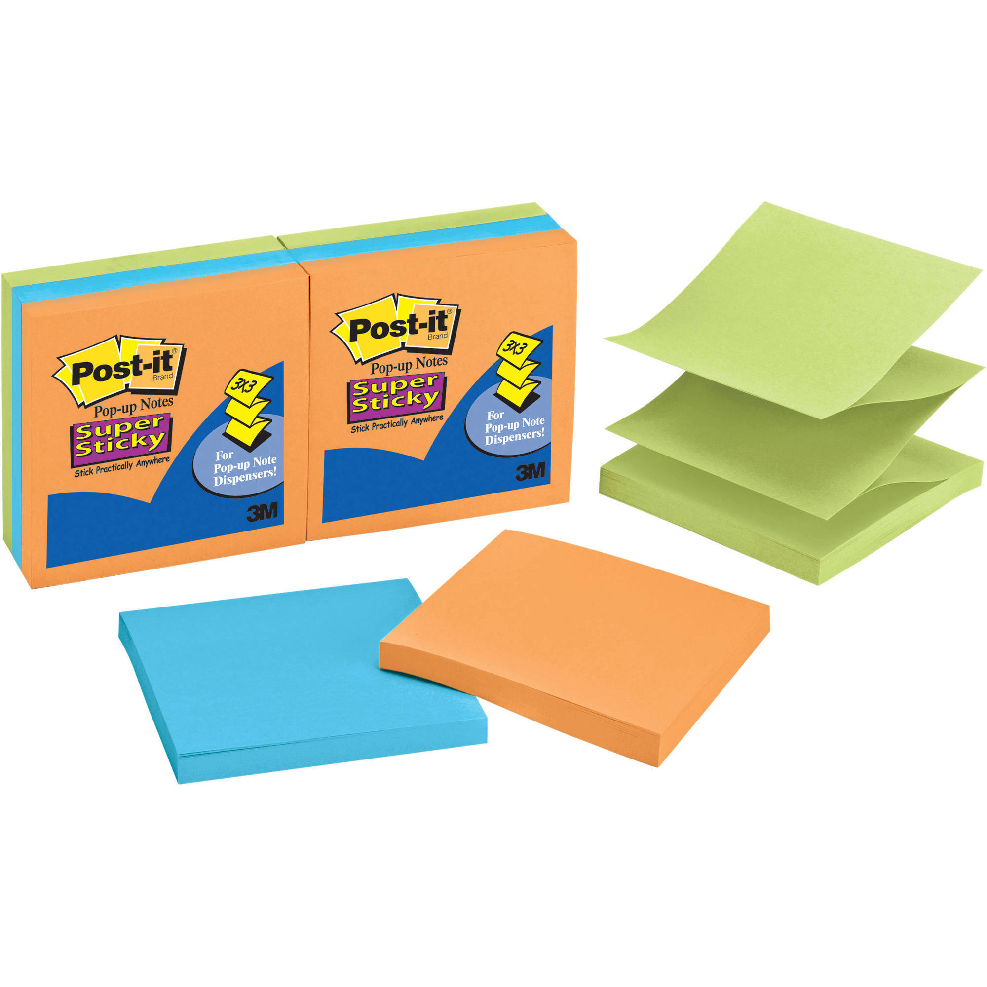 "Post-it Super Sticky Pop-up 3"" x 3"" Notes, 90 sheets per pad, 6 pads per pack"