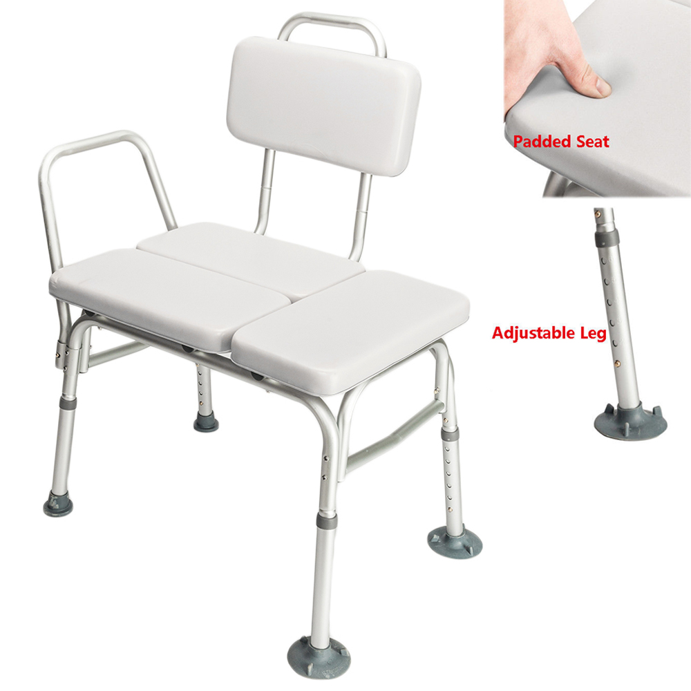 Zimtown Bath Chair, Adjustable Handicap Shower Chair Seat Bench Transfer Bench with Arms and Backs