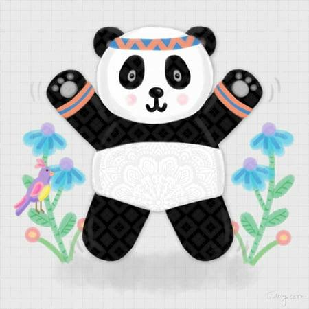 Tumbling Pandas III Poster Print by Noonday Design (Prada Designs)