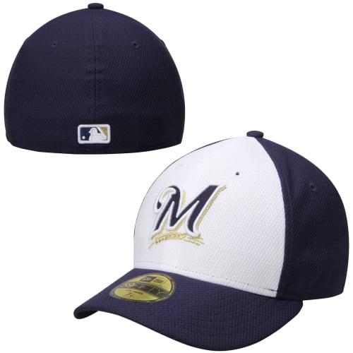Men's New Era Navy Blue/White Milwaukee Brewers Alternate Low Crown Diamond Era Performance 59FIFTY Fitted Hat