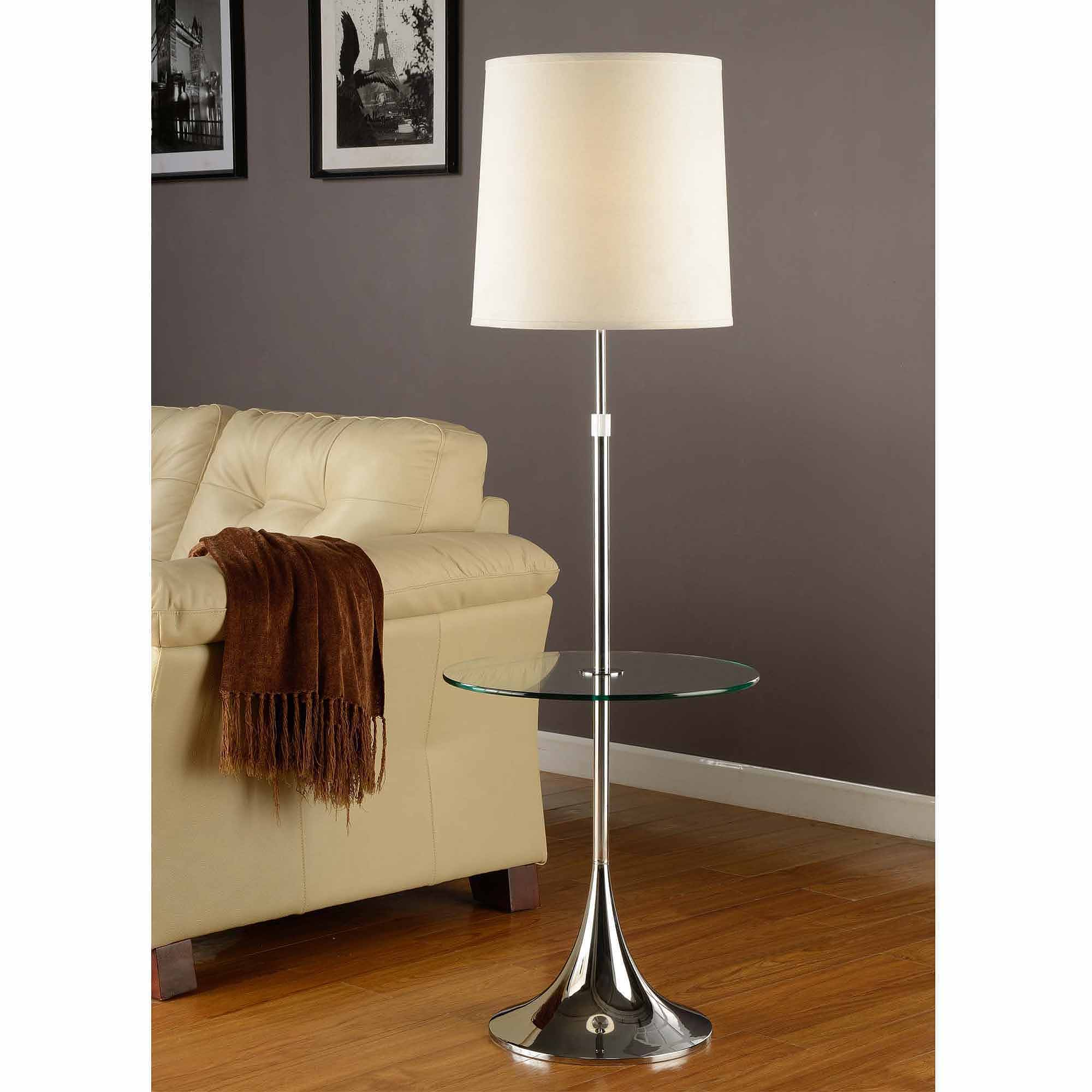 "Artiva USA 52-65"" Adjustable Chrome Sofa Lamp with Tempered Glass Table"