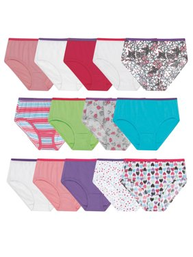 Hanes Girls' Brief Underwear, 14 Pack Printed Panties Sizes 6 - 16