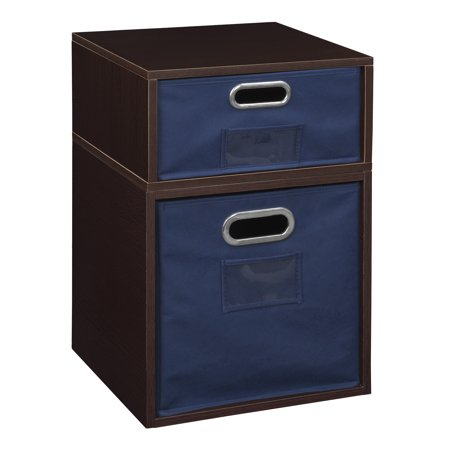 Niche Cubo Storage Set- 1 Full Cube/1 Half Cube with Foldable Storage Bins- Truffle/Blue