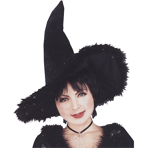Witch Hat with Marabou Trim Halloween Accessory