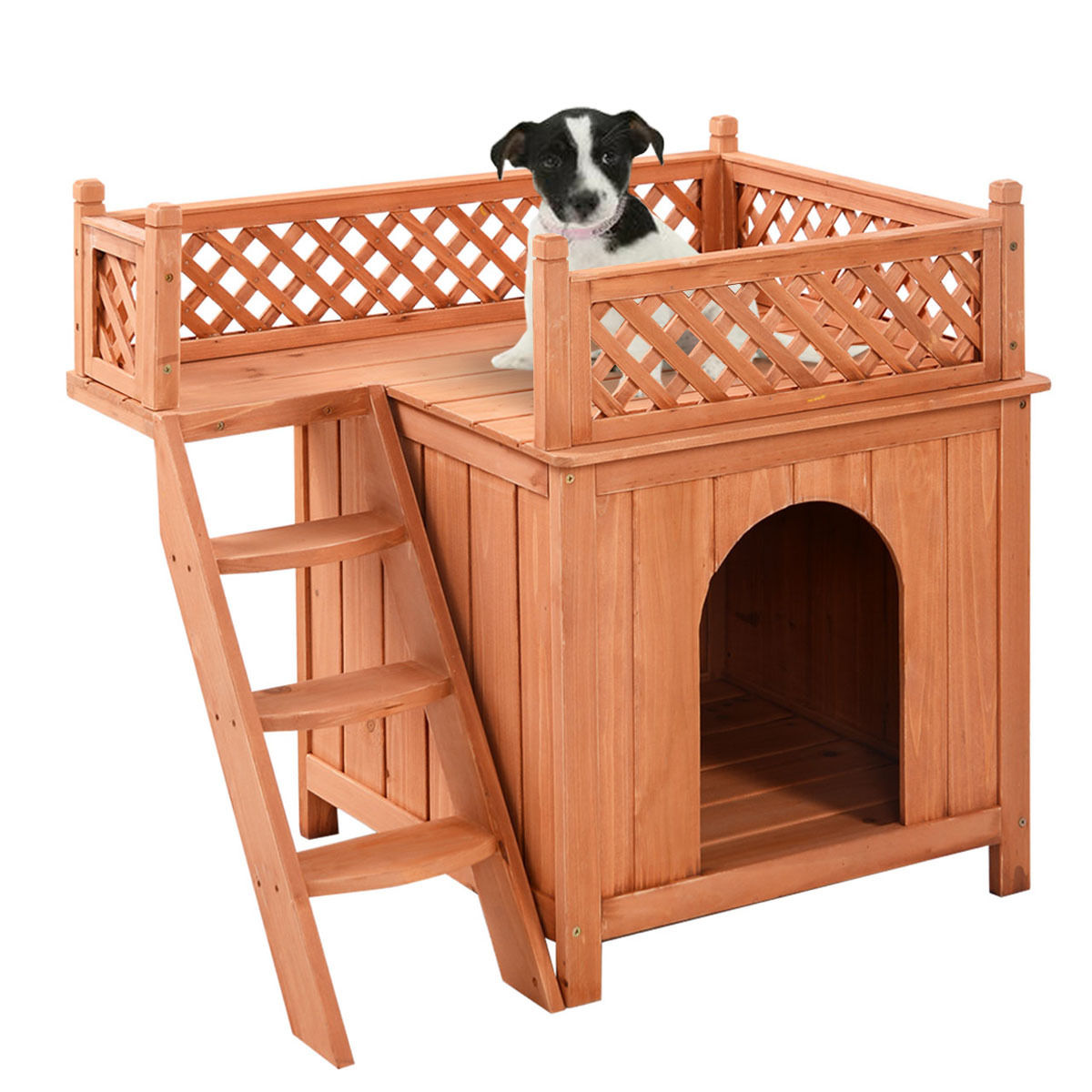 Costway Wooden Puppy Pet Dog House Wood Room In/outdoor Raised Roof Balcony Bed Shelter
