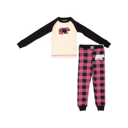Lazy One Pink Bear Plaid Cotton Girls Pajamas ()