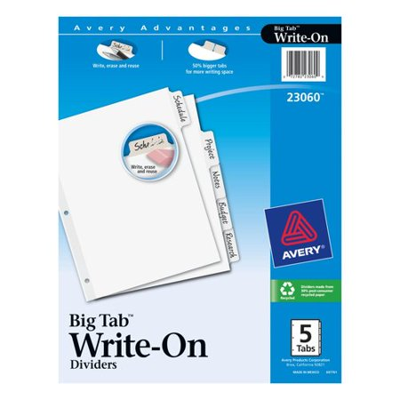 Avery R  Big Tab Tm  Write   Erase Dividers 23060  5 White Tabs  1 Set