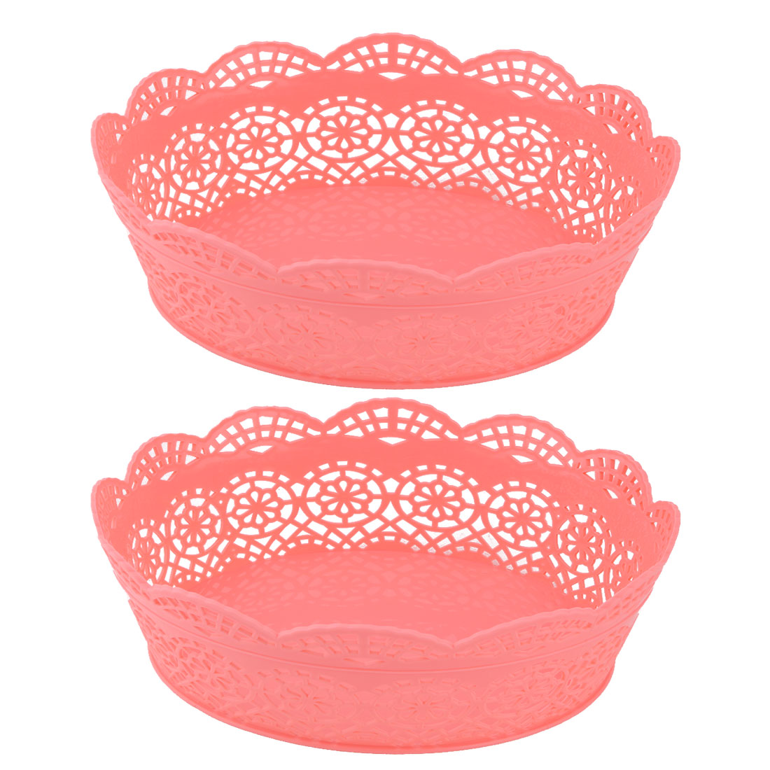 2pcs Plastic Oval Hollow Out Vegetable Washing Storage Fruit Basket