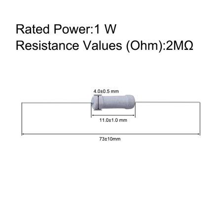 50 Pcs 1W 1 Watt Metal Oxide Film Resistor Axial Lead 2M Ohm ±5% Tolerance - image 3 de 5