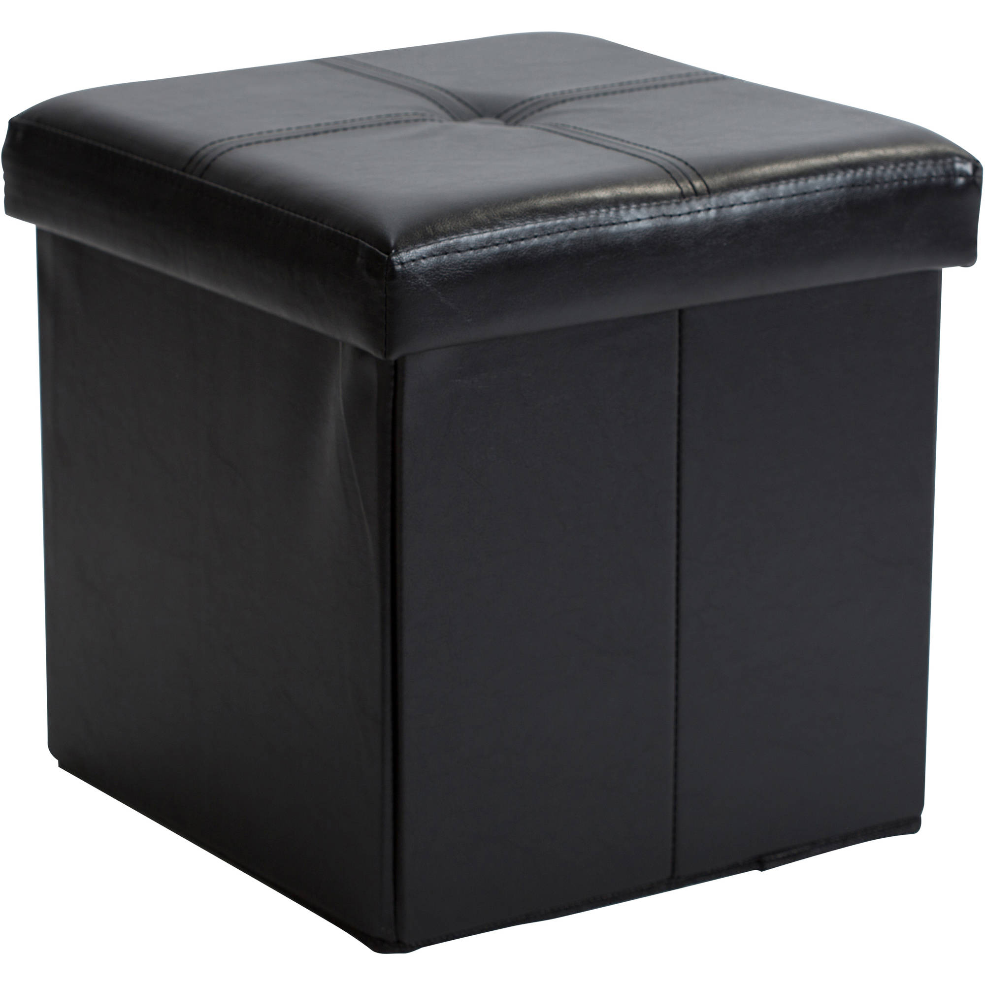 Single Folding Ottoman Black  sc 1 st  Walmart : storage ottoman white  - Aquiesqueretaro.Com