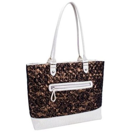 ALLIE Quilted Fabric with Croco Faux Leather Tote - Bronze