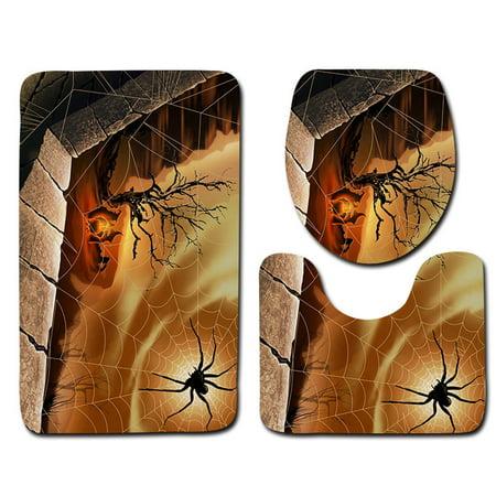 Halloween Spider Black Widow Toilet Seat Cover and Rug Bathroom Halloween Decor - Carlton Halloween