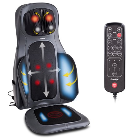 Gymax Shiatsu Neck & Back Massage Cushion Air Compression Heated Massager Chair (Shiatsu Back Massager)