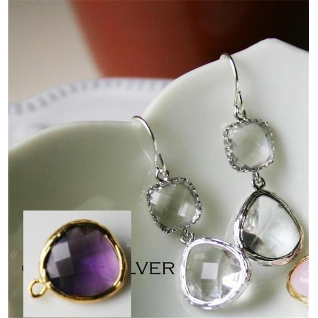 Rebecca GDESPLU Gemstone Dangle Earrings - Silver Plum