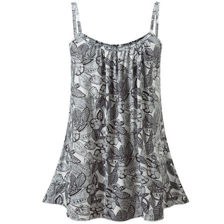 Women's Plus Size Boho Floral Casual Sleeveless Tops