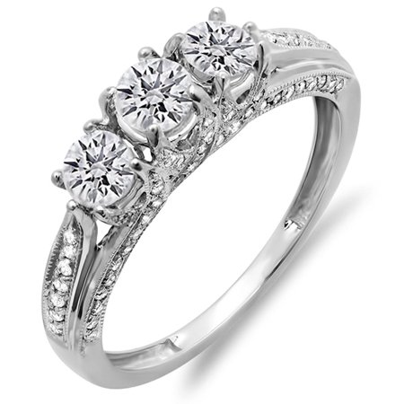 Dazzlingrock Collection 1.00 Carat (ctw) 14K Round Diamond Ladies Vintage 3 Stone Engagement Ring 1 CT, White Gold, Size 4 1/4 Ct Oval Diamond Ring