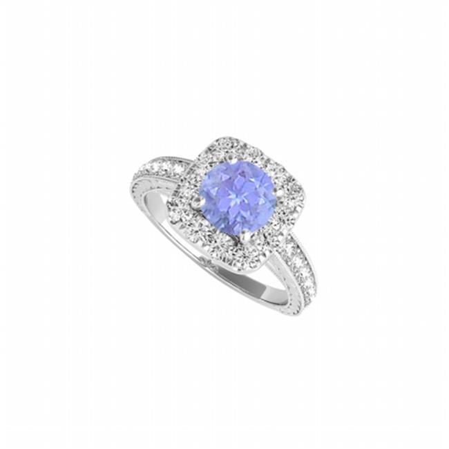 Fine Jewelry Vault UBUNR50875EW14CZTZ December Birthstone Tanzanite & CZ Halo Ring, 4 Stones