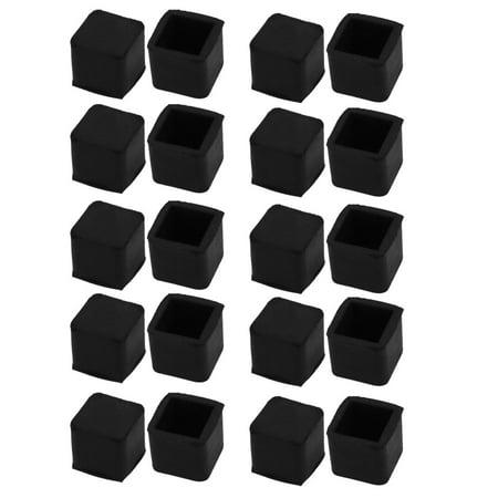 20Pcs Furniture Table Chair Square Rubber Leg Tip Cap 15mm x 15mm - Chair Caps
