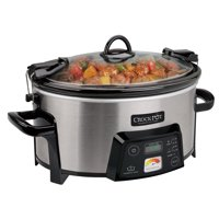 Crock-Pot 6-Quart Cook & Carry Digital Slow Cooker with Heat Saver Stoneware, Brushed Stainless Steel (SCCPCTS605-S)
