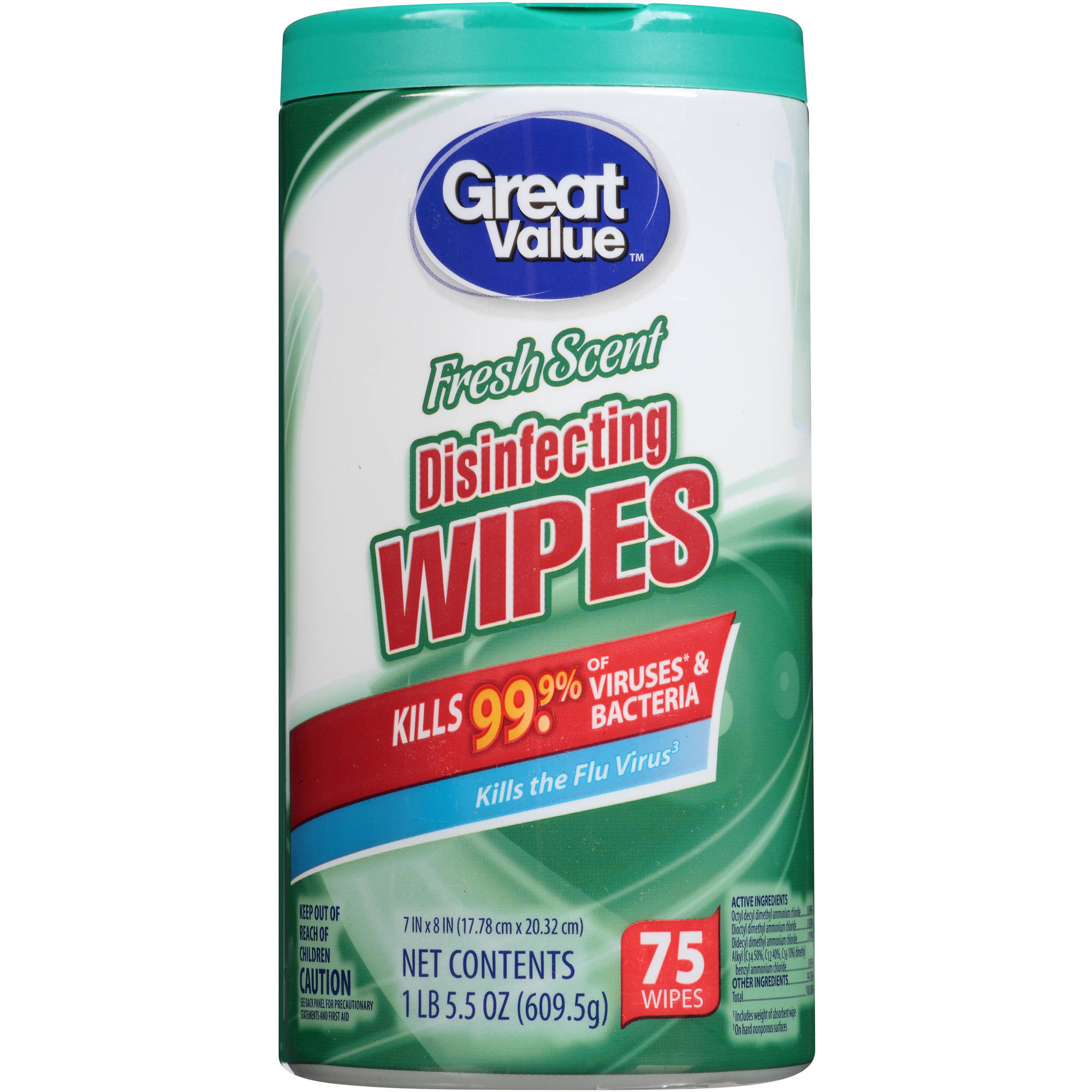 Great Value Fresh Scent Disinfecting Wipes, 75ct