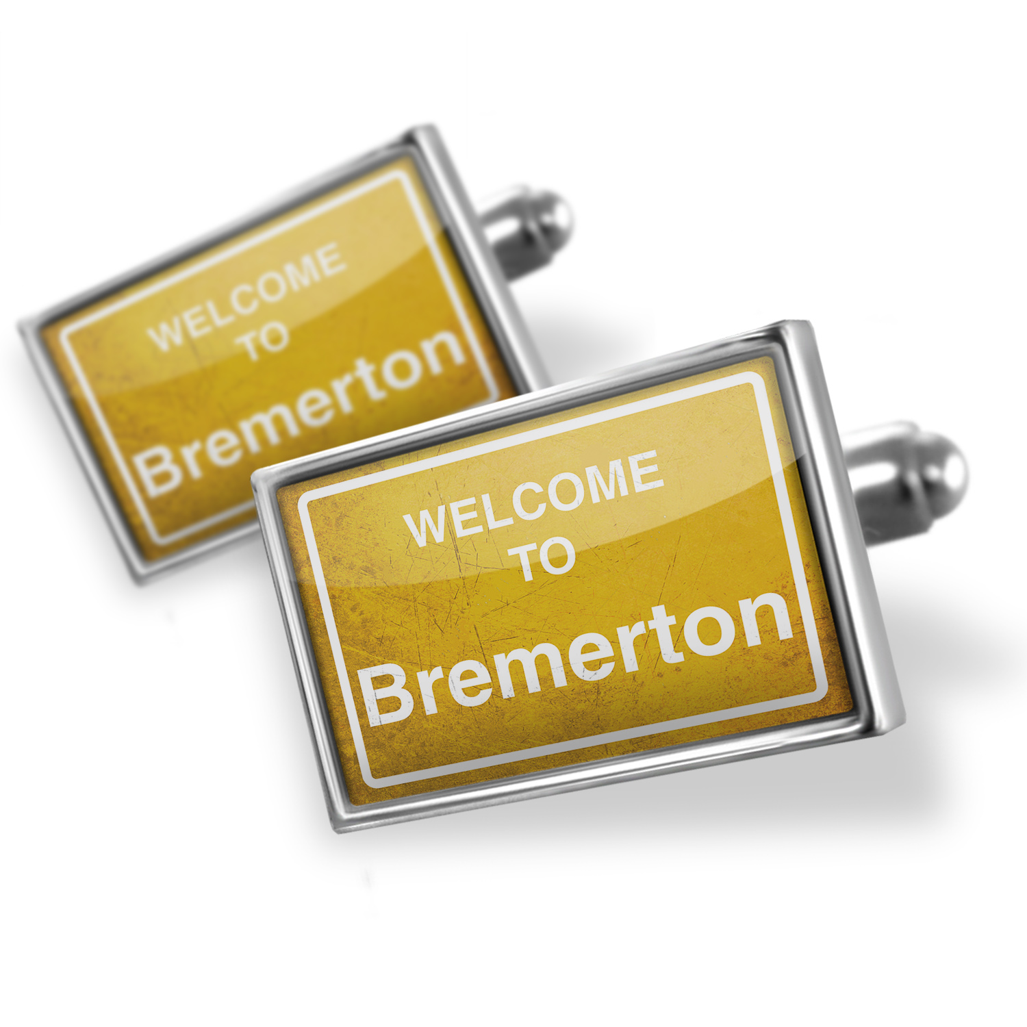 Cufflinks Yellow Road Sign Welcome To Bremerton - NEONBLOND