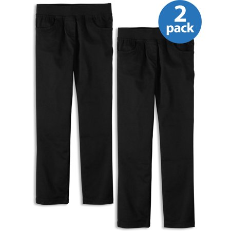 Wonder Nation Girls School Uniform Stretch Twill Pull-On Pants, 2-Pack Value Bundle (Little Girls & Big Girls) ()