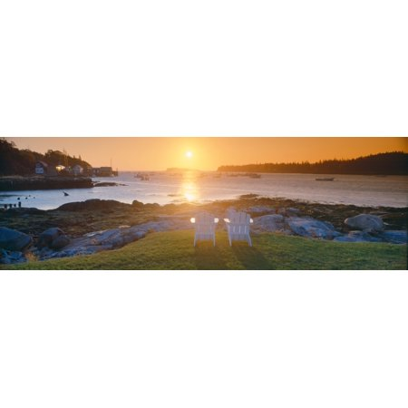 Sunrise Gardens (Lawn chairs at sunrise at Lobster Village Tenants Harbor Maine Poster Print )