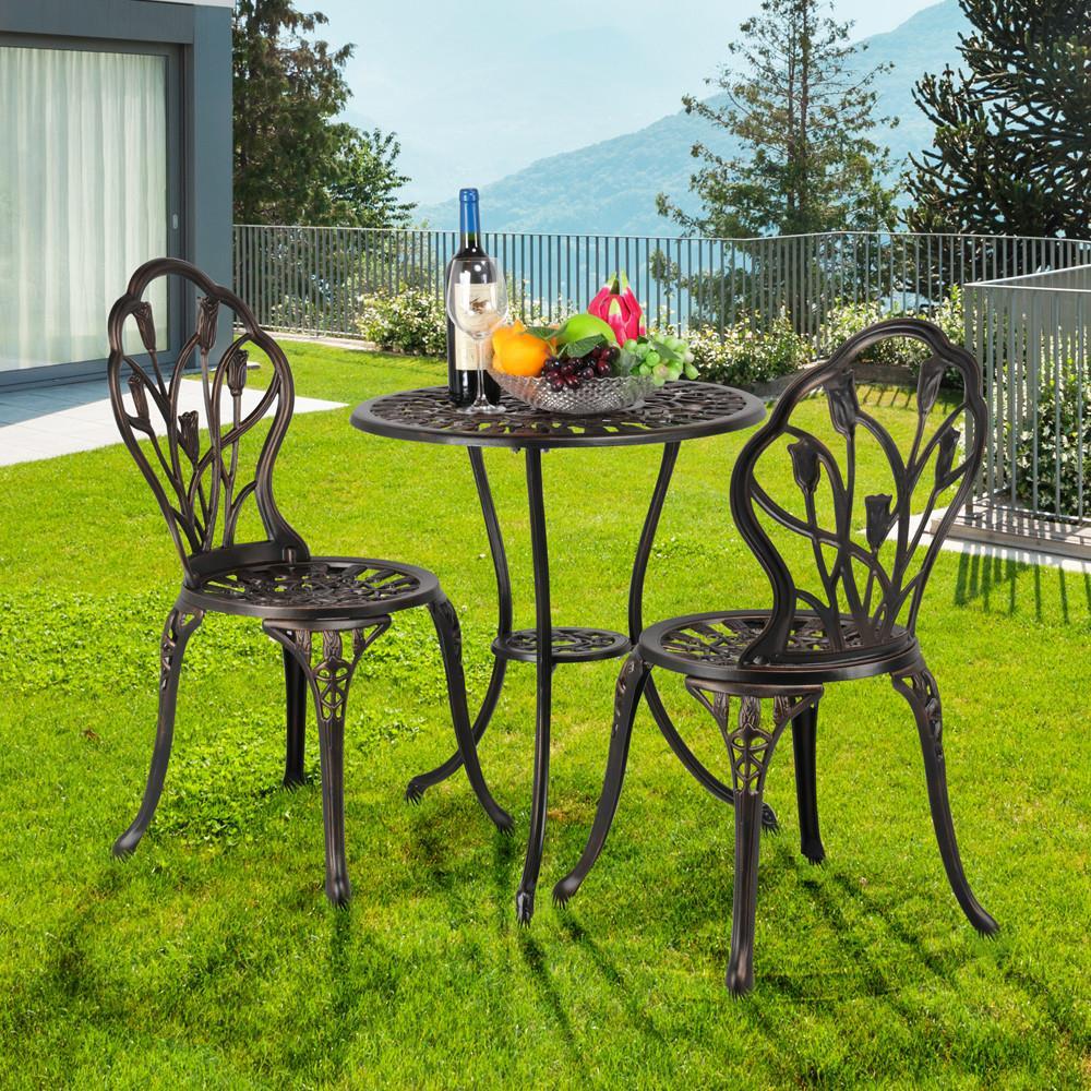 Yaheetech 3 Piece Bronze Patio Set Outdoor Patio Furniture Tulip Design Setting Cast Bistro Table Chair, Aluminum