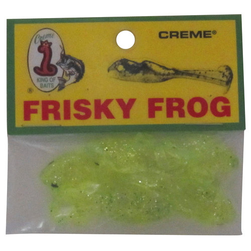 Creme Lure Frisky Frog, Chartreuse/Glitter, 7-Pack