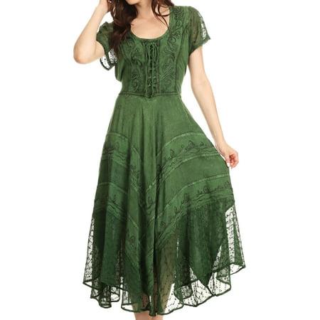 Sakkas Marigold Embroidered Fairy Dress Green One Size Plus