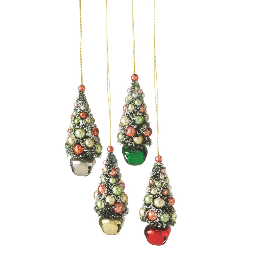 "4"" Flocked and Glittered Christmas Tree on Red Jingle Bell Holiday Ornament"