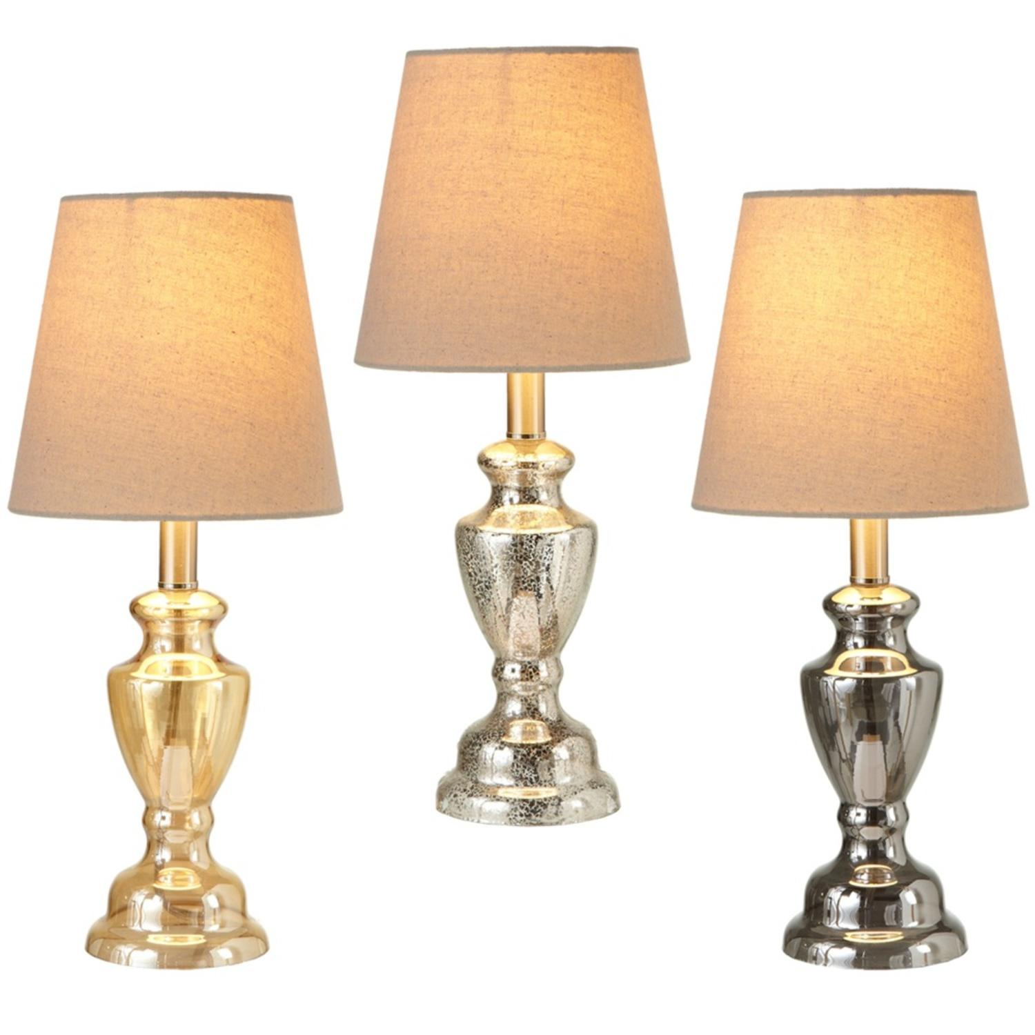 Set of 3 Gold and Silver Luster Urn Accent Table Lamp with Beige Round Shade 17""