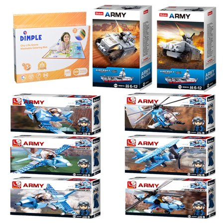 Sluban Kids Army Helicopter, Army War Craft, 7 Army Aircrafts, Building Blocks Toy Set 827 Pcs & Dimple Kids Small Washable Coloring Play Mat with 12 Washable Markers