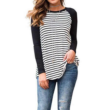 Women's Striped Raglan Long Sleeve Baseball T Shirt Tunic Tops (Striped Baseball Jersey)