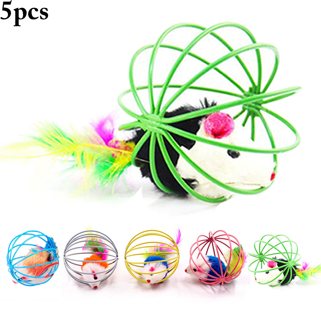5PCS Cat Toys, Legendog Interactive Feather Mouse in Cage Cat Toy Ball Cat Teaser Toys Pet Toys for Cats... by Legendog