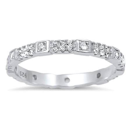Stackable Eternity Unique Clear CZ Cute Ring ( Sizes 5 6 7 8 9 10 ) 925 Sterling Silver Band Rings by Sac Silver (Size 6)