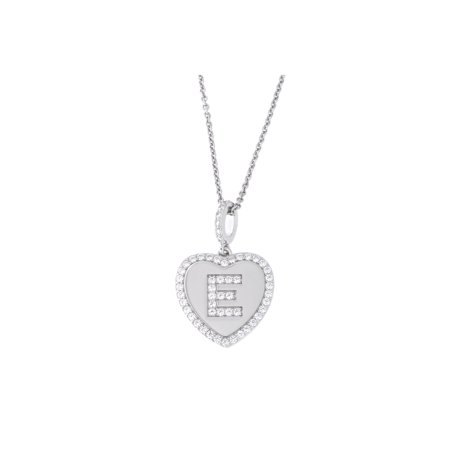 Solid Sterling Silver Rhodium Plated Cubic Zirconia Initial Heart Pendant Necklace, E, 18 inches ()