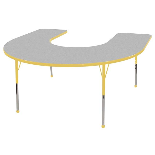 s 60 x 66 in. Horseshoe Activity Table with Toddler Legs & Nine 10 in. Chairs, Ball Glides Gray & Yellow by GreatGames