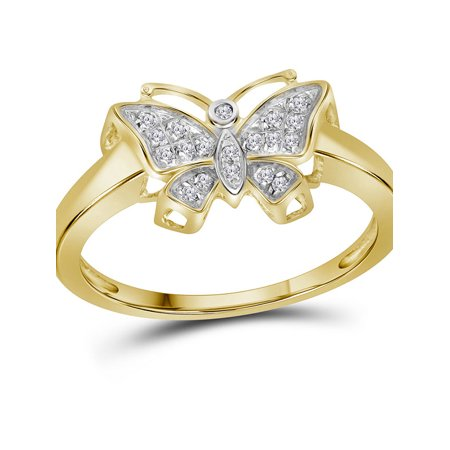 10kt Yellow Gold Womens Round Diamond Butterfly Bug Cluster Ring 1/12 Cttw ()